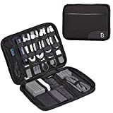 BGTREND Electronics Travel Organizer, Oxford Cable Bag with Strap, Large Tech Organizer Case, Black