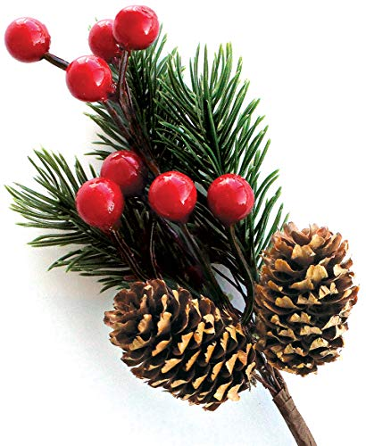 Red Berry Stems Pine Branches Evergreen Berries Décor 8 PCS - Artificial Pine Cones Branch for Christmas Craft Wreath Pick & Winter Holiday Floral Picks Holly Stem for Decoration DIY Xmas Crafts