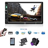 Double Din Car Stereo 7 Inch Touch Screen Car MP5 Player Support Backup Rear View Camera FM Radio Car Audio Bluetooth with Steering Wheel Remote Control Mirror Link