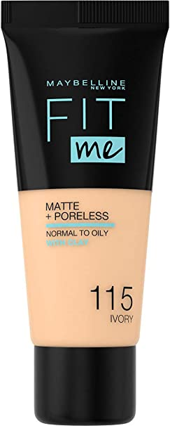 Maybelline Fit Me Matte Poreless Foundation 115 Ivory 30ml Amazon Co Uk Beauty