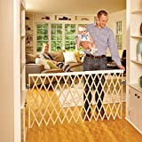 North States 60' Wide Expandable Swing Baby Gate: Equipped with a safety rail that automatically adjusts as the gate expands. Hardware mount. Fits 24'-60' wide (32' tall, Natural Wood)