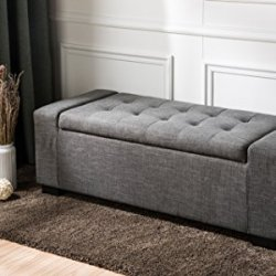 First Hill Calida Rectangular Storage Ottoman Bench with Fabric Upholstery, Large – Anchor Grey