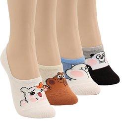 WOWFOOT-Women-Animal-Design-No-Show-Casual-Liner-Socks-Character-Print-Non-Slip-Flat-Boat-Line-4-Pair-4pair-Cute-Animal