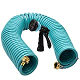 AUTOMAN-Garden-Water-Hose-Recoil,50 Feet EVA Curly Water Hose with Brass Connectors,Watering Hose Coil,Includes 7-Pattern Function Sprayer,Retractable,Corrosion Resistant Garden Coil Hose.
