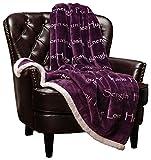 Chanasya Warm Hugs Positive Energy Healing Thoughts Super Soft Sherpa Microfiber Comfort Caring Violet Purple Gift Throw Blanket - Get Well Soon Gift for Women Men Cancer Patient - Aubergine Blanket
