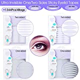 IG 1344Pcs/4Packs Ultra Invisible One/Two Side Sticky Double Eyelid Tape Stickers, Medical Fiber Eyelid Lift Strip, Instant Eyelid Lift Without Surgery, Perfect for Hooded, Droopy, Uneven, Mono-eyelid