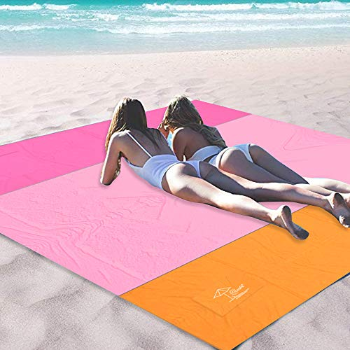 OCOOPA Sandfree Beach Blanket 10'X 9' Extra Large, Soft Pocket Picnic Blanket, Waterproof Outdoor Family Mat for Beach, Camping, Hiking, Music Festival, Machine Washable, Pink
