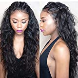 Sunwell 360 Lace Frontal Wig Water Wave 150% density Pre Plucked Hairline Glueless Virgin Brazilian Human Hair Lace Wigs for Black Women with Baby Hair 16inch