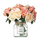 Missblue Artificial Rose Flowers with Vase,FakeSilk Pink Bouquet with Glass Jar Home Rope for Wedding Proposal Bride Home Decoration and The Best Gift (Champagne)