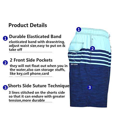 QRANSS – Costume da bagno da uomo ad asciugatura rapida, a righe, con tasche Marina Militare S