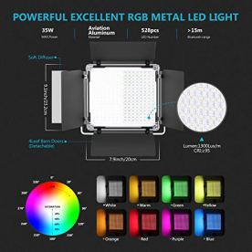Neewer-3-Packs-530-RGB-Led-Light-with-APP-Control-Photography-Video-Lighting-Kit-with-Stands-and-Bag-528-SMD-LEDs-CRI953200K-5600KBrightness-0-1000-360-Adjustable-Colors9-Applicable-Scenes