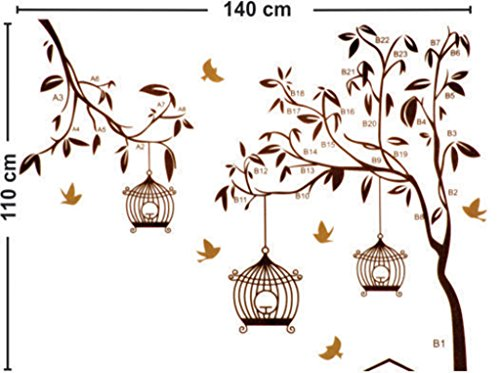 51Qatwb%2BlKL - Decals Design StickersKart Wall Stickers Tree with Birds and Cages (Brown)