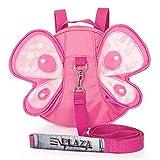 EPLAZA Toddler Walking Safety Butterfly Belt Backpack with Leash Child Kid Harness Strap Bag (rose red backpack)