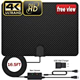 TV Antenna, 2019 Newest Carbon Fibre Indoor TV Antenna for Digital Freeview 4K 1080P HD VHF UHF for Local Channels 100 Miles Range with Signal Amplifier Support All TV's - 16.5 ft Coax Cable/Adapter