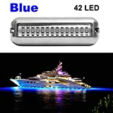 VOFONO Blue Upgrade 27LED to 42 LED 12V 304 Stainless Steel Underwater Transom Pontoon Drain Fish Boat Navigation Light and Stern IP68 Waterproof 1 Pcs
