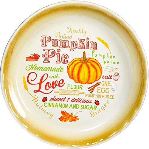 10' Pumpkin Pie Vintage Pie Plate Country Style Baking Dish Decorative Colorful