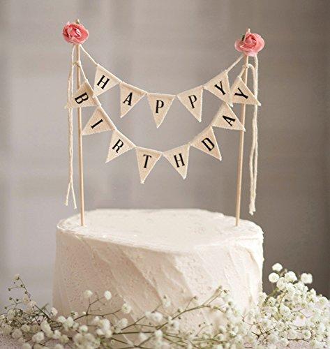 Happy birthday cake bunting topper cake topper garland handmade happy birthday cake bunting topper junglespirit Choice Image