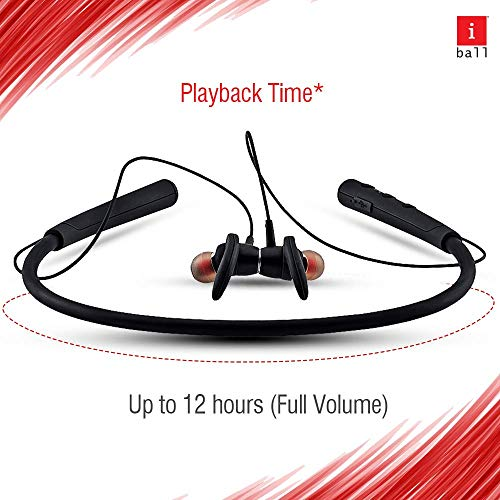 iBall EarWear Base BT 5.0 Neckband Earphone with Mic and 12 Hours Battery Life (Black) 6