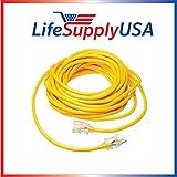 14/3 200ft SJTW Full Copper 15 Amp 300 Volt 1625 Watt Lighted End Indoor/Outdoor Extension Cord (200 feet) by LifeSupplyUSA