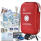 DeftGet First Aid Kit - 163 Piece Waterproof Portable Essential Injuries & Red Cross Medical Emergency Equipment Kits : for Car Kitchen Camping Travel Office Sports and Home