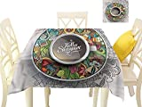 WilliamsDecor Dinning Table Covers Coffee,Summer Doodles Saucer Artsy Jacquard Tablecloth W 70' x L 70'