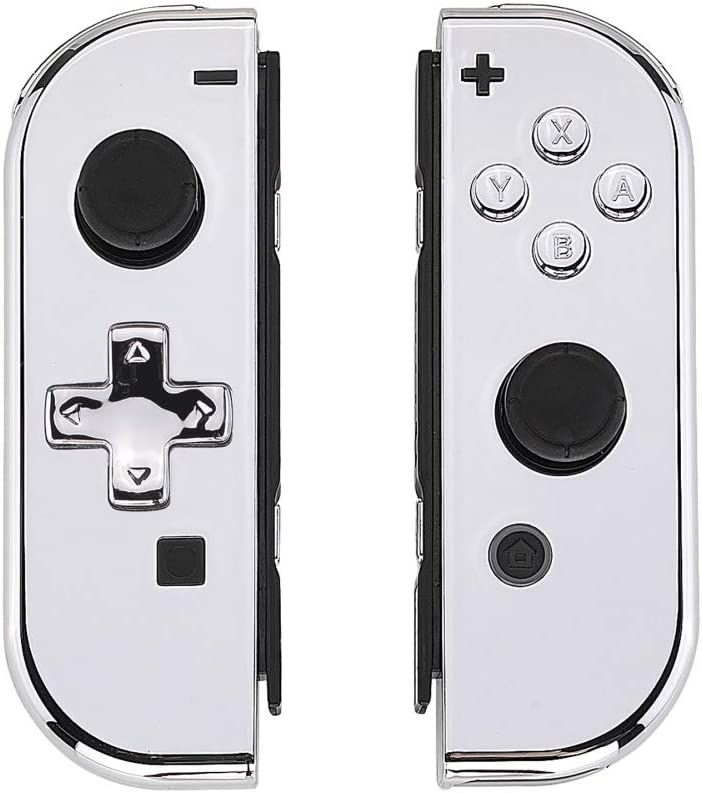 eXtremeRate Coques avec Kit de Boutons pour Nintendo Switch NS JoyCons Manette Contrôleur,Housse de Protection DIY Remplacement(Pas de Coque de Console)-Argenté Chromé