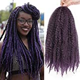 AISI BEAUTY Marley Braids Afro Kinky Hair Extensions Synthetic Twist Crochet Braiding Hair 18 inches 3 Packs/Lot Hair Extension(T1B-Purple)