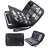 MDROKUN Fireproof Electronics Organizer,Double Layer Electronic Accessories Cases Travel Gadget,Fire and Water Resistant Bag for Various Cables/Hard Drive/Phone/Charger/iPad/Power Bank