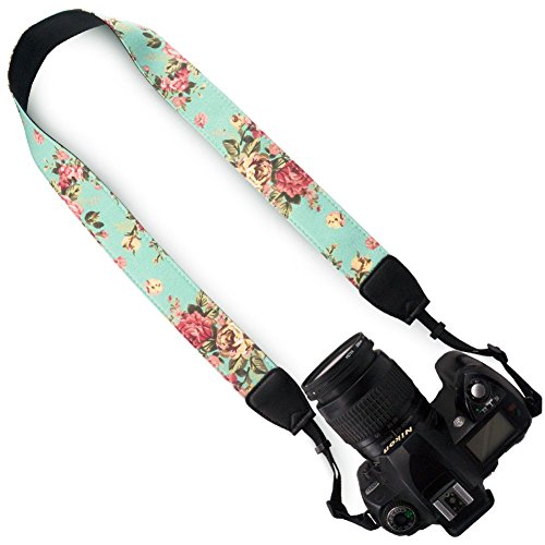 Wolven Pattern Canvas Camera Neck Shoulder Strap Belt for All DSLR/SLR/Men/Women etc, Green Vintage Floral