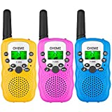 Ohime Kids Walkie Talkies,Cover 3 Miles Range with Backlit LCD Flashlight 22 Channels 2 Way Radio Toy Outdoor Adventures, Camping, Hiking,Party (Yellow&Pink&Blue)