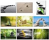 "9Pcs x Poster Zen Stone Garden Rocks Spa Bamboo Fountain Japan For Room Hotel Office Wall Deco Prints 20x13"" (50x33cm) E539(01-09)"