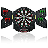 Goplus Professional Electronic Dart Board Cabinet Set Dartboard Game Room LED Display w/ 12 Darts (Black)