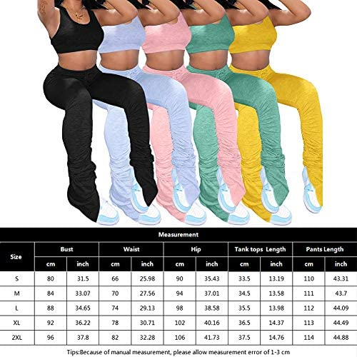 Women's 2 Pieces Yoga Outfits Sports Tank Tops and Stacked Pants Leggings Exercise Set Tracksuits 2