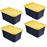 HDX Tough Polypropylene Plastic 27 Gal. Storage Tote in Black by HDX (4 pack)