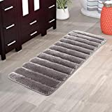 Artiron Bathroom Rug Runner, Non Slip Durable Thick Tufted Bath Mat 18'×47' Soft Luxury Microfiber Floor Rug Carpet Machine-Washable Shaggy Fluffy Doormats for Shower Tub Silver Gray
