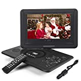 Whew 13.9'' Portable DVD Player for Kids Car Travel, 10.1' Swivel Display Screen, 5 Hour Rechargeable Battery, Car Charger, Earphone Jack for CD/DVD Region Free
