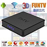 FUNTV 2019 最新三代 中文電視盒子 Chinese/HK/Taiwan/Vietnam Live tv iptv Streamer 粵語、普通話、越南語網絡媒體播放器 4K 3D WiFi Box