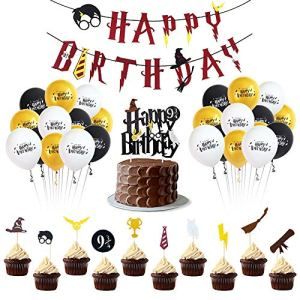Wizard Birthday Party Supplies Set – Happy Birthday Banner, Cake Topper,Cupcake Toppers – HP Theme Party Decorations 51QuRJp1n6L