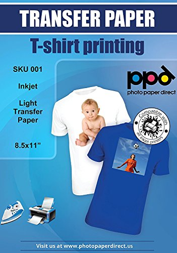 """PPD Inkjet Iron-On White and Light Color T Shirt Transfers Paper LTR 8.5x11"""" pack of 10 Sheets (PPD001-10)"""