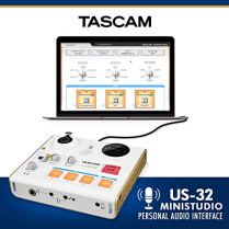 Tascam-US-32-MiniStudio-Personal-Audio-Interface-Online-PodcastBroadcasts-and-more-WPlatinum-Aux-Cable-Stereo-Headphones-Large-Diaphragm-Microphone-Stand-Pop-Filter-Fibertique-Cloth