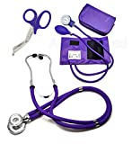 ASATechmed Nurse/EMT Starter Pack Stethoscope, Blood Pressure Monitor and Free Trauma 7.5' EMT Shear Ideal Gift for Nurse, EMT, Medical Students, Firefighter, Police and Personal Use (Purple)