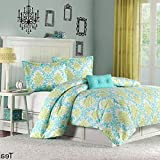 Kaputar Ultra Soft Modern Chic Teal Blue Green Black Purple Girl Comforter Set W/Pillow | Model CMFRTRSTS - 2150 | Queen