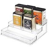 iDesign Linus Plastic Stadium Spice Racks, BPA-Free 3-Tiered Kitchen, Pantry, Bathroom, Vanity, Office, Craft Room Storage Organization, 10.25' x 9.25' x 4', Clear