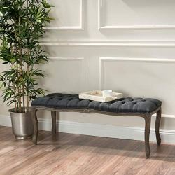 Christopher Knight Home Living Tassette Tufted Oxford Grey Fabric Bench, Dark