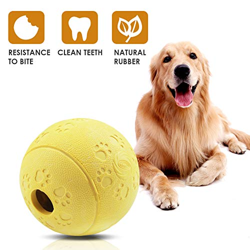 "Aritan Interactive Food Dispensing Dog Rubber Toy Ball,Large 3.2"", 100% Non-Toxic Chew Toys for Pet Tooth Cleaning, Chewing, Playing, Pet Exercise Game Ball IQ Training Ball 1"