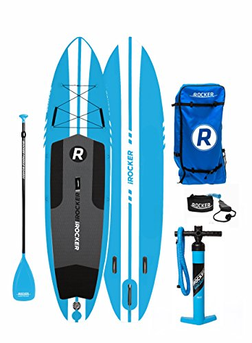 iROCKER ALL-AROUND Inflatable Stand Up Paddle Board 11' Long 32' Wide 6' Thick SUP Package ('18 Blue)