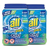 All Mighty Pacs Laundry Detergent, 4-in-1 with Odor Lifter, 2 Tubs, 64 Count