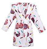 Toddler Hooded Print Flannel Fleece Bathrobe Girls Robe with Pockets,Cupcakes,S