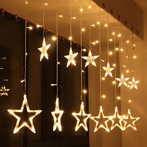 51R 67WIawL - Home Solution's -Star Light Curtain Decorations (12 Star,138 LED,8 Flashing Modes in Warm White Color)