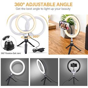 UBeesize-10-LED-Ring-Light-with-Tripod-Stand-Phone-Holder-Dimmable-Desk-Makeup-Ring-Light-Perfect-for-Live-Streaming-YouTube-Video-Photography-3-Light-Modes-and-11-Brightness-Levels